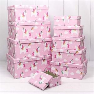 Коробка карт прямоуг из наб 1/10 Единороги на розовом фоне №8 /OMG