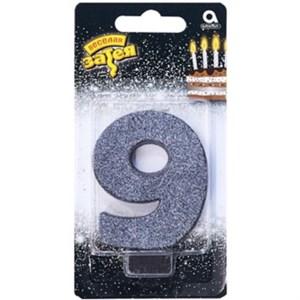 """Свеча для торта цифра """"9"""" Черная Глиттер, 8 см /А"""