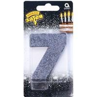 """Свеча для торта цифра """"7"""" Черная Глиттер, 8 см /А"""