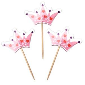 Пика д/канапе Корона для принцессы, Розовый, 6*12 см, 12 шт /Дб