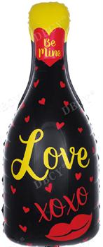 """Шар фольга Фигура (33''/84 см) Бутылка, Шампанское """"Love"""", Черный /Дб"""