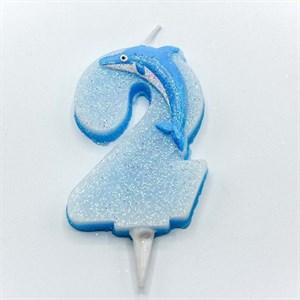 Свеча для торта ЦИФРА 2 Дельфин 6,7см /OMG