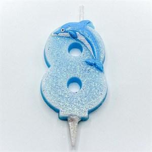 Свеча для торта ЦИФРА 8 Дельфин 6,7см /OMG