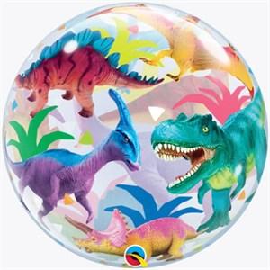 """Шар п/э BUBBLE 22""""(56см)  Динозавры разноцветные (QL)"""